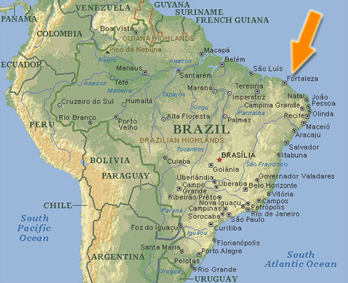 Brazil Map with arrow pointing to Fortaleza
